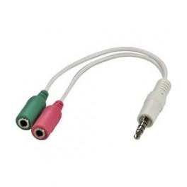 headsetadapter til smartphone, tilslutter normalt headset til en smartphone, 1x3,5mm han- 2x3,5mm hun, 0,1m, hvid