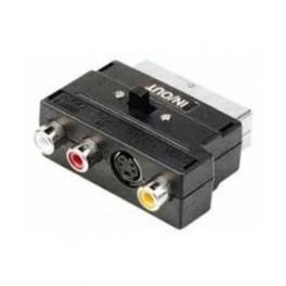 Adapter scart - 3xRCA hun S-VHS med omskifter